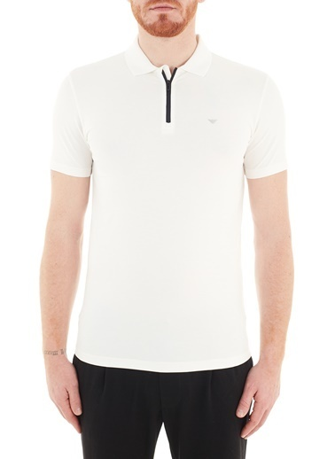 Emporio Armani  Pamuklu Fermuarlı Polo T Shirt Erkek Polo S 6H1Fe0 1Jjrz 0101 Beyaz